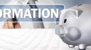 Tirelire en forme de cochon associée au mot formation représentant le financement de la formation