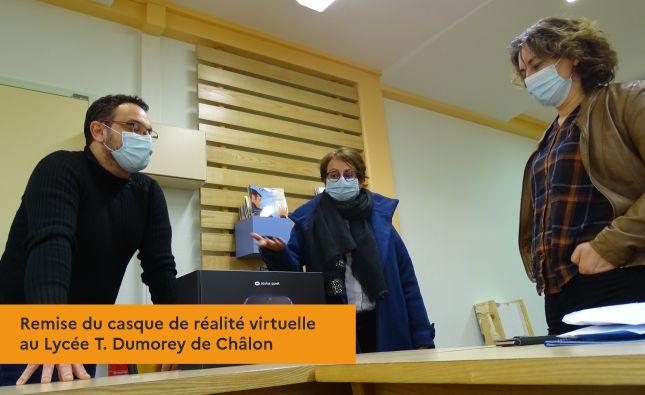 Remise du casque de réalité virtuelle au Lycée T. Dumorey de Châlon