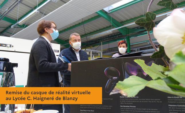 Remise du casque de réalité virtuelle au Lycée C. Haigneré de Blanzy